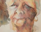 Original mixed media, watercolor painting, ink drawing, portrait, face, black woman, 11x15""