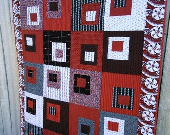 Red, black, grey and white modern squares quilt,  makes a wonderful gift. 100% cotton