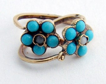 Turquoise Floral Earrings 14K Gold