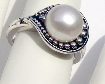 Beaded Pearl Ring Sterling Silver