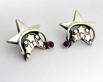 Dazzling Star Form Earrings Sterling Silver Amethyst