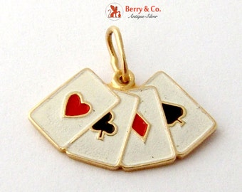 Figural Card Suit Charm Or Pendant Enamel 14K Gold