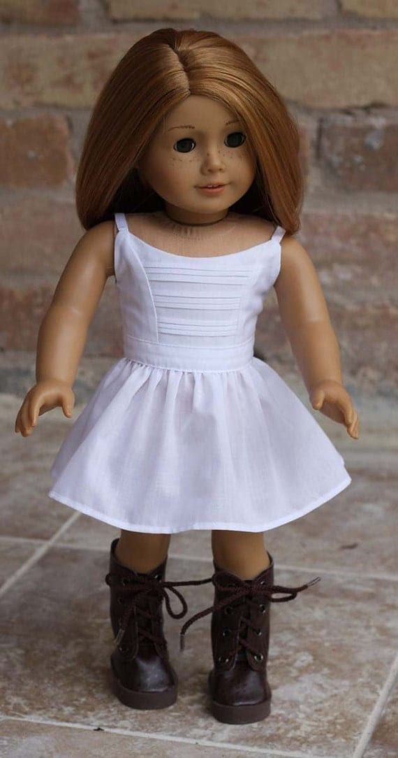 White Strap Dress with Front Pin Tucks for American Girl and similar 18 inch dolls
