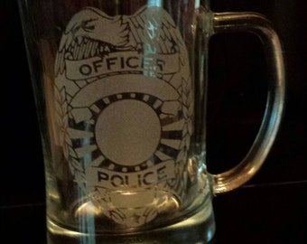 Personalized police officer etched mug.