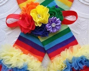 Rainbow Leg Warmers/Striped Legwarmers/Birthday Legwarmers/Baby Leg Warmers/Leg Warmer Set/Infant Headband/Girls Headband/Girls Legwarmers