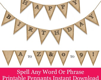 Rustic Burlap Printable Banner Pennants For Celebrations And Parties. Create A Happy Birthday Message, Wedding Banner, Welcome Back And More