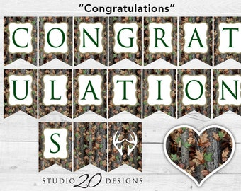 Instant Download Camo Congratulations Banner, Camo Congrats Bunting Banner, Realistic Green Camouflage Party Banner, Hunters Camo Banner 31C