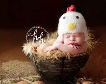 Chicken hat, newborn photography prop, Childrens photo prop, animal prop, crochet photo prop, handmade, baby shower gift