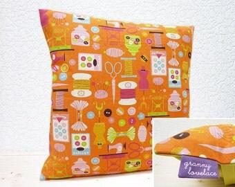 "Handmade 16""x16"" Linen Blend Cushion Pillow Cover in Orange Sewing Stash Print by Kokka"