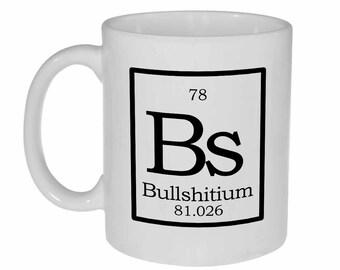Bs Periodic Table Mug   -  white ceramic coffee or tea mug