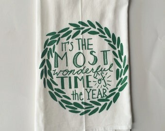 Christmas Tea Towel, Flour Sack Towel, Hostess Gift, Dish Cloth