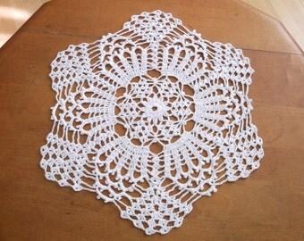 Crochet Doily in White, Hexagon Doily, Round Doily, Doily, White Doily