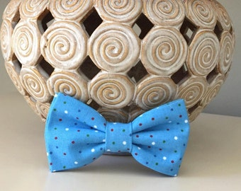 Dog Bow / Bow Tie - Sky Blue w Tiny Polka Dots