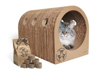 1 Original Catpod & 1 Kitty Pucks bag Deal -Eco friendly trendy cardboard cat scratcher pet bed furniture organic catnip toy great gift pets