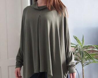 Knitted Jersey Tunic Long Asymmetric Tunic Long Blouse & Nara TRP013