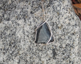 Silver necklace-wire wrapped black hematite stone pendant