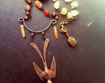Sale!SUNSET By Veritas Art Jewelry Wire Wrapped Citrine Sunstone Agate Carnelian Sandstone Opal Cats Eye And Quartz Oxidized Swallow Pendant