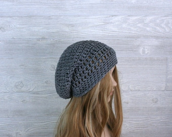 Crochet Slouchy Beanie Hat for Women and Men, gray, red, black, blue, more colors