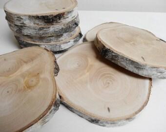 "4.5-5"" inch Wood Slices, Birch Tree, Birch Slices, Birch Wood, Wedding Decor, Tree Slices, Unfinished Wood, (B60)Set of 9"