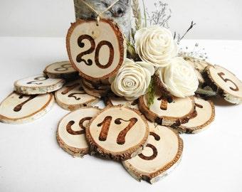 Wedding Table Numbers, Birch Wood Table Numbers, Birch Table Numbers, Rustic Wooden Table Numbers, Rustic Wedding Decor,1-20