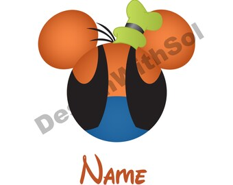 Goofy Ears customized with name of your choice available as file to print on iron on transfer paper
