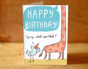 What Did You Say? Giraffe Birthday Card