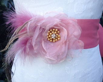 Dusky pink bridal sash, bridal belt, wedding belt, bridal tie belt, wedding tie up  belt, , flower belt, flower sash, pink flower belt