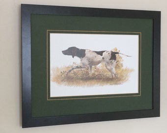 """Framed and Mounted Pointer Print Wall Art 12"""" x 16"""" Dog Print by Joel Kirk"""
