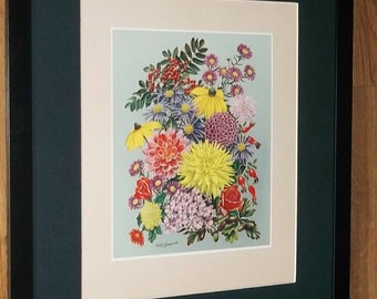 Autumn - Leslie Greenwood -20''x16'' frame, rare botanical four seasons print