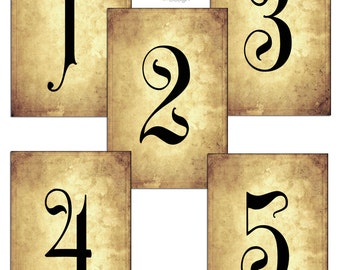 Number Names Worksheets printable numbers 1 to 10 : Gothic/Halloween Wedding Table Numbers 1-10 by CraftyBeanDesign