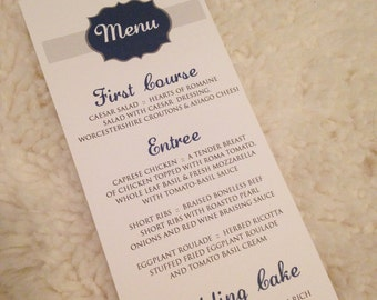 100 Ribbon Menu Cards