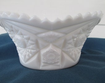 Vintage White Milk Glass SawTooth Bowl Mid Century Serving Dining Candy Dish Wedding Decor Smith Glass