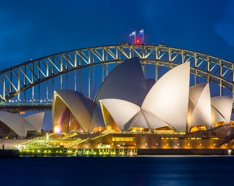 Sydney Australia Two Iconic Landmarks in One Photograph Print - Night Photo of the Sydney Opera House and Sydney Harbor Bridge