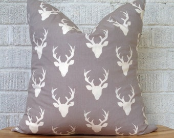 Grey Stag Deer Pillow Cover, tribal pillow case, cabin chic