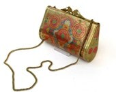 "Solid Brass Clutch Purse with Peacock Clasp, Handpainted Flowers and Geometric Shapes, Carrying Chain Can Be ""Hidden"""