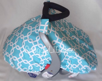 Turquoise fitted car seat canopy and velcro straps & Spring/Summer/Fall Fitted car seat canopy Realtree camo
