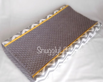 Grey chevron, yellow changing pad cover with grey minky dot