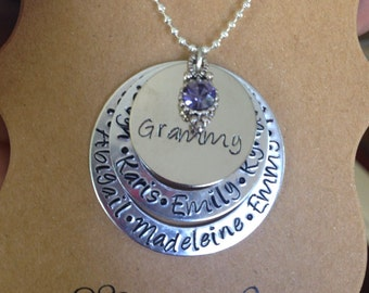 Grammy 3 Tier Stacked Disc Necklace Hand Stamped with Grandchildren Names with Choice of Dangle Grandparent Jewelry