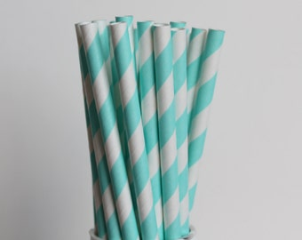 Light Blue Striped Paper Straws-Light Blue Straws-Striped Straws-Wedding Straws-Mason Jar Straws-Gender Reveal Straws-Baby Blue Straws