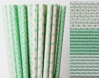Mint Green Paper Straw Mix-Mint Green Straws-Polka Dot Straws-Damask Straws-Quatrefoil Straws-Wedding Straws-Party Straws-Cake Pop Sticks