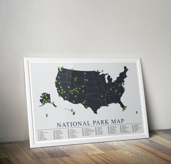 National Park Map, American National Park Print, Outdoors print, Explorer Wall Print