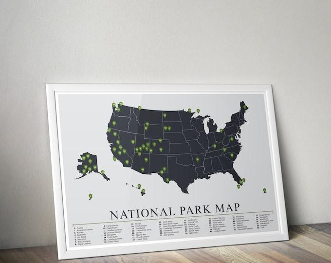 National Park Map, American National Park Print, Outdoors print, Explorer Wall Print