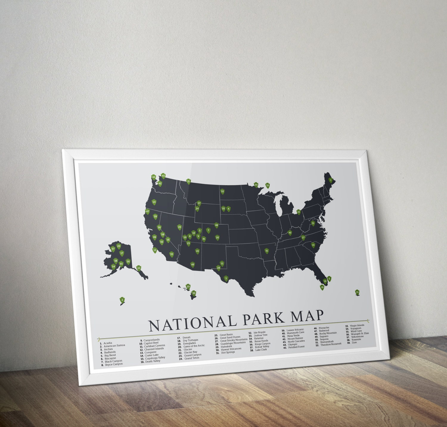 National Park Map American National Park Print Outdoors - Us national parks wall map