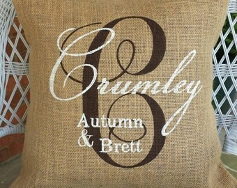 Painted Burlap Pillow, Personalized Wedding Gift