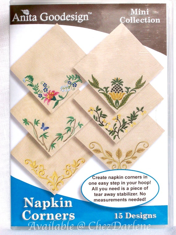 Machine embroidery napkin corner designs in the hoop
