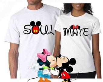 Soul Mate Couple Disney Mickey Minn ie  Mine  matching T shirts    Disney Soul Mate Shirts