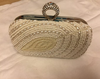 Vintage silver beads Wedding party Evening Clutch Bag