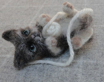 NOW SOLD needle felted cat Pebble