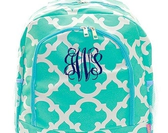 Personalized Backpack Monogrammed Bookbag Quatrefoil Moroccan Aqua Blue Large Full Size Canvas Kid Tote School Bag Embroidered Monogram Name