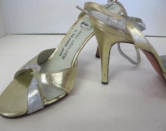 Gold Slingback High Heels Gold Heels Slingback Heels Gold Sandals 8 1/2